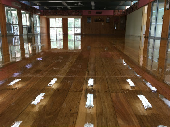 Samford Scout Hall after JB sanding and polishing (wet)