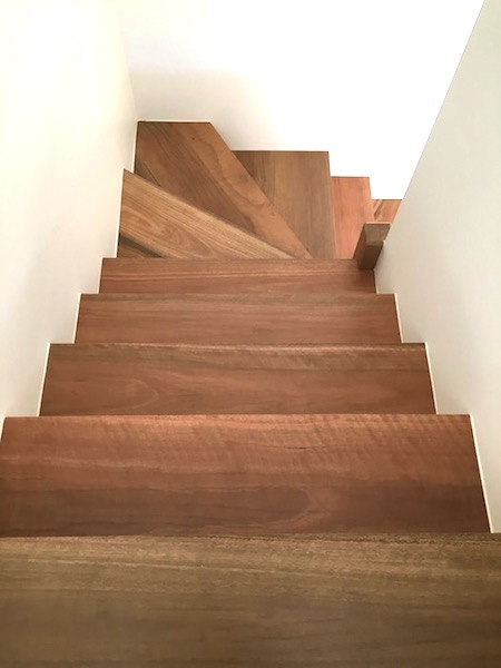 Spotted Gum stairs finished by JB Floor Sanding
