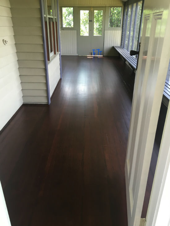 enclosed deck finished with Intergrain Natrual stain Merbau to match the internal water based floors